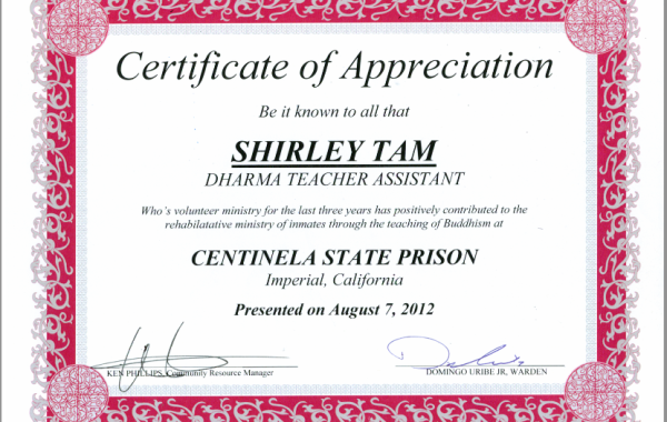 Appreciation Letter for Shirley Tam