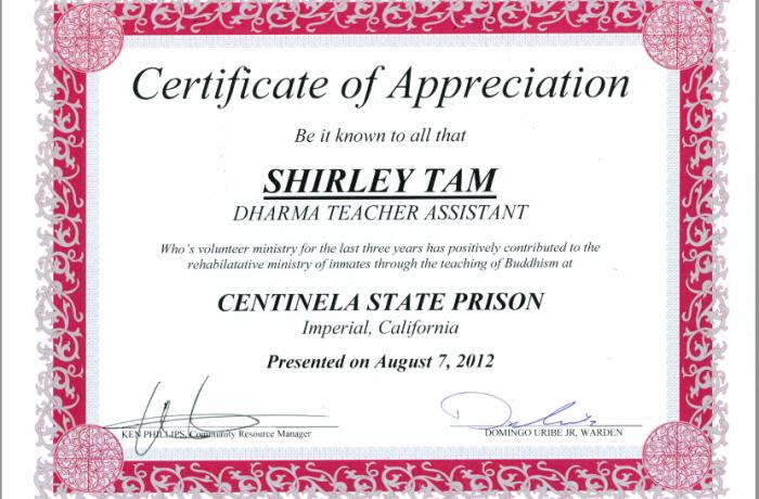 Appreciation Letter for Shirley Tam
